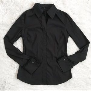 Elie Tahari Black Long Sleeve Button Down Top